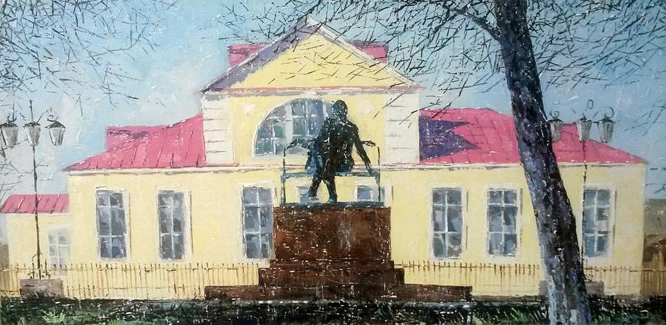 Игорь Сабура «Вид на Усадьбу Чайковского в Воткинске», холст, масло, 40*80 см.