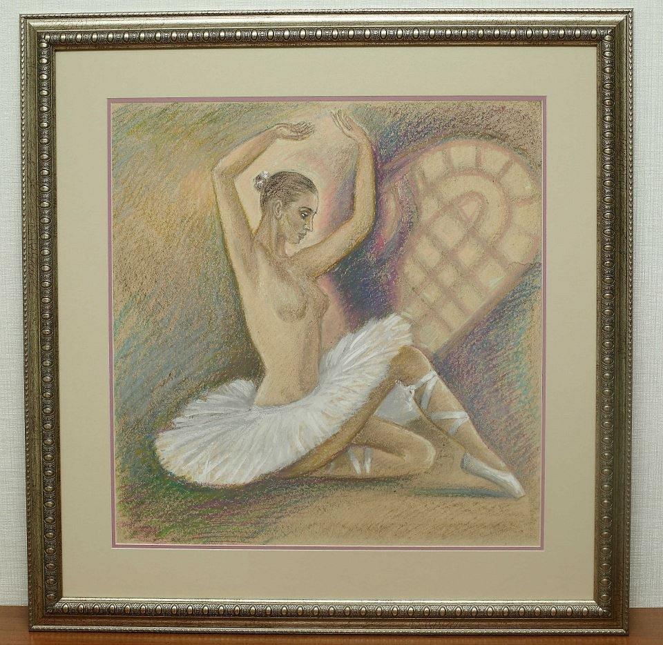 Виктор Котляров «Лебединое озеро», бумага, пастель, 53*53 см.