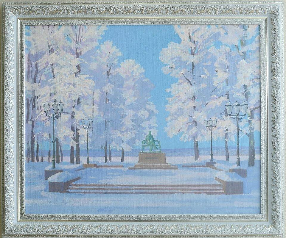 Владимир Тишин «Памятник Чайковскому в Воткинске», картон, акрил, 75*93 см.