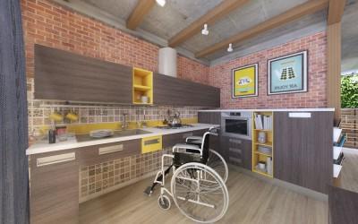 Проект стильной кухни-столовой для колясочника