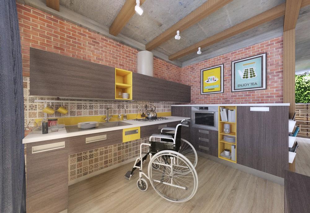 Кухня-столовая для инвалида колясочника