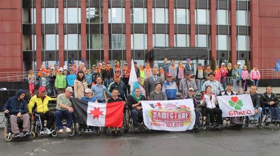 Открытие автопробега инвалидов-колясочников из Удмуртии на рок-фестиваль Нашествие»