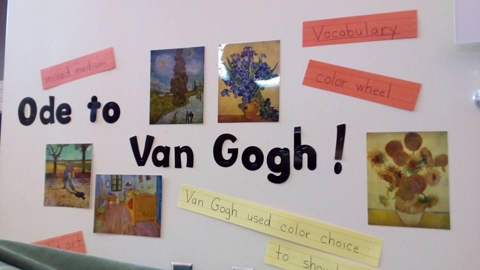 Ван Гог просто преследует меня в этой поездке! Теперь вот в школе настигла выставка)))) — в UCP of Central Florida.